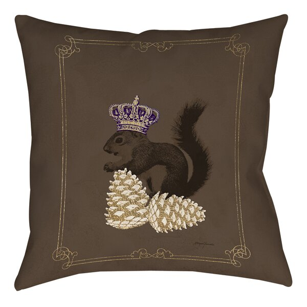 Luxury Lodge Squirrel Printed Throw Pillow by Manual Woodworkers & Weavers