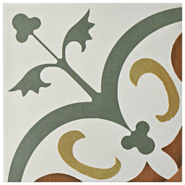 Revive 7.75 x 7.75 Ceramic Field Tile in Sage Green and Off-White by EliteTile