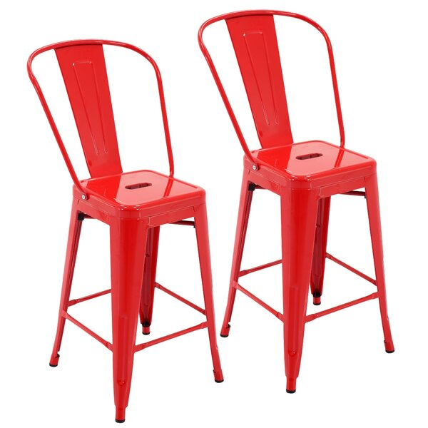 Feldt Indoor and Outdoor Rust-Resistant Metal 24 Patio Bar Stool with Back (Set of 4) by Ivy Bronx| @ $185.99