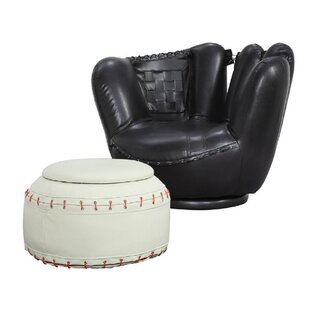 Compare prices Choi Kids Faux Leather Chair and Ottoman ByZoomie Kids