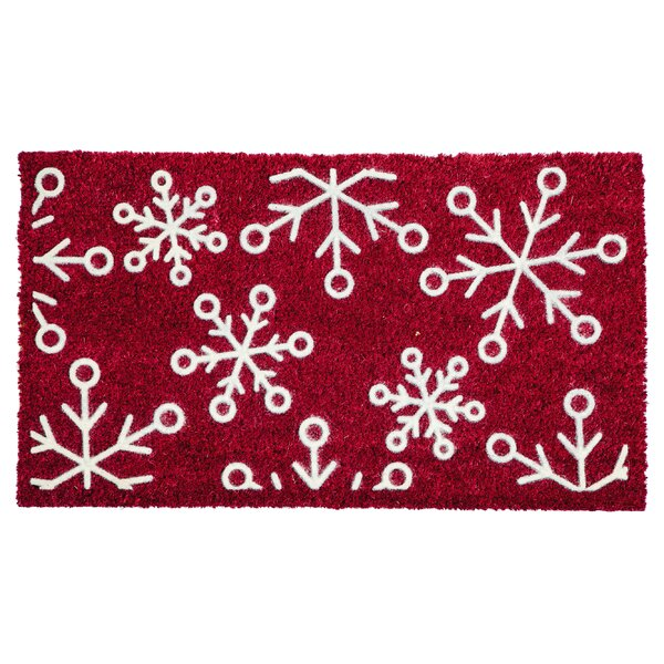 Snowflakes Flocked Doormat by The Holiday Aisle