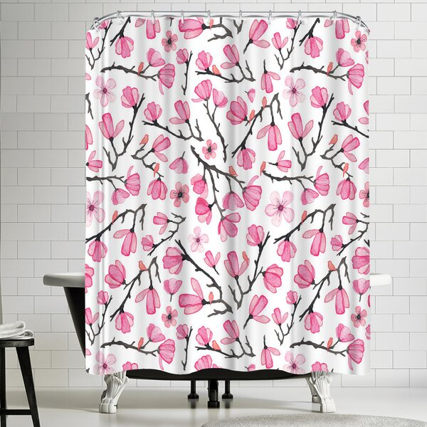 Elena Oneill Pink Cherry Blossom Shower Curtain by East Urban Home