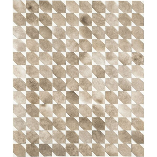 Bisset Cowhide Hand-Woven Pearl Beige/Beige Area Rug by Modloft