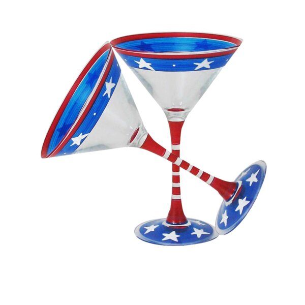 Aria Stars and Stripes 2 Piece Cocktail Glasses Set (Set of 2) by The Holiday Aisle