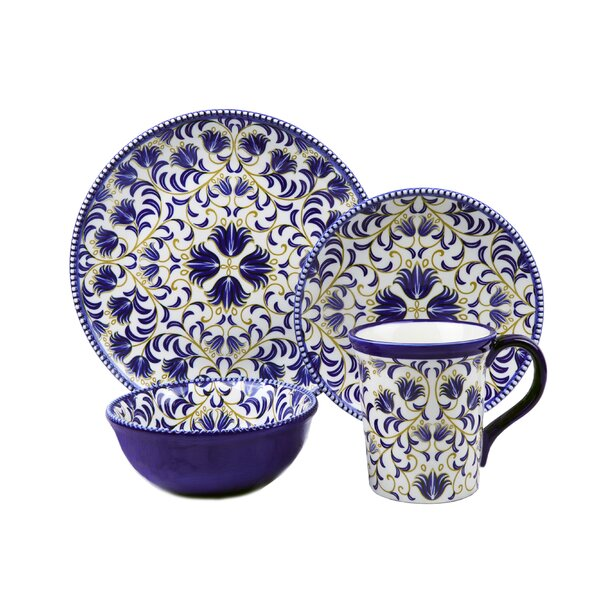 Bimini Beaded 16 Piece Set Dinnerware Set, Service for 4 by Lorren Home Trends