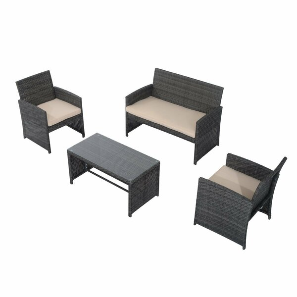 Pointer 4 Piece Sofa Seating Group with Cushions by Wrought Studio