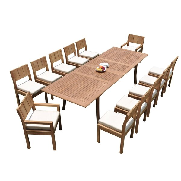 Indiana 13 Piece Teak Dining Set by Rosecliff Heights