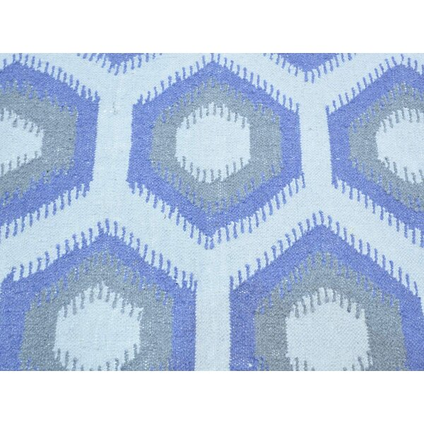 One-of-a-Kind Brantley Geometric Design Reversible Handmade Kilim Ivory Wool Area Rug by Isabelline