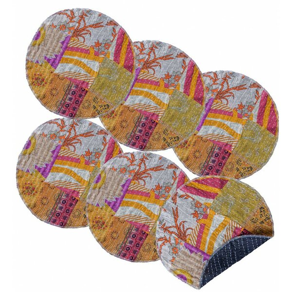 Richmond Valley Round Upcycled Kantha 14 Placemat (Set of 6) by Bloomsbury Market