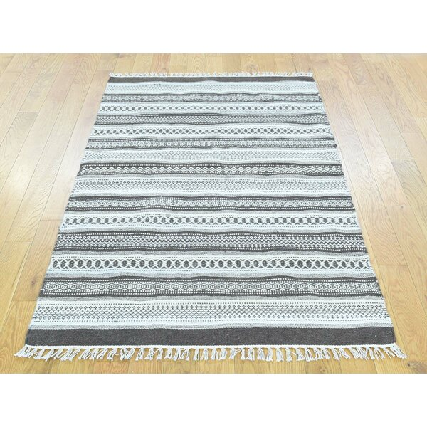 One-of-a-Kind Bedingfield Striped Reversible Handmade Kilim Wool Area Rug by Isabelline