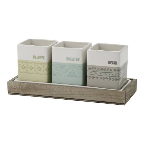 Indoor Herb 3-Piece Ceramic Pot Planter Set by Plum and Punch