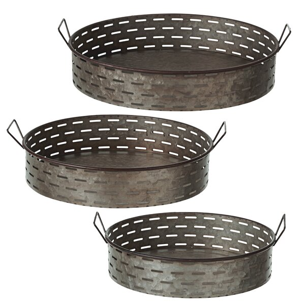 Albinson Oversized Galvanized Slot Round 3 Piece Accent Tray Set by Gracie Oaks