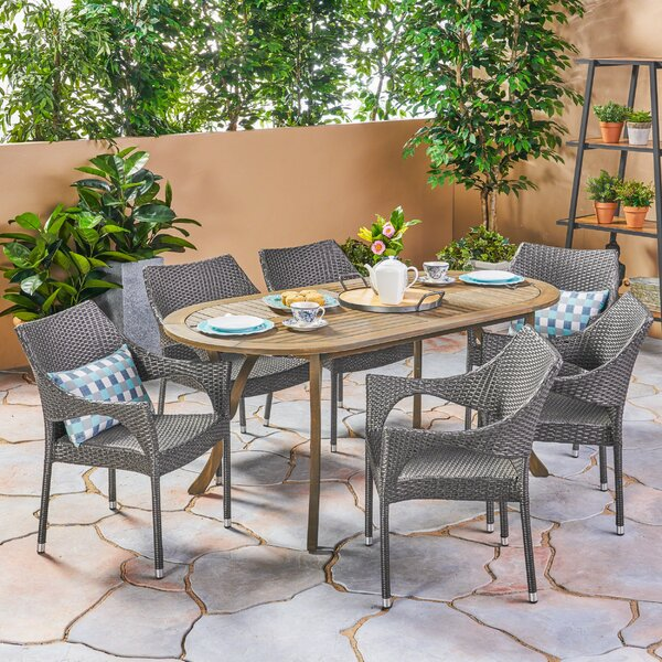 Macaulay Outdoor 7 Piece Dining Set by Wrought Studio