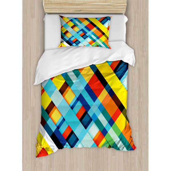 Colorful Home Vivid Lines Stripes with Diagonal Elements Retro Layout with Modern Touch Duvet Set by Ambesonne