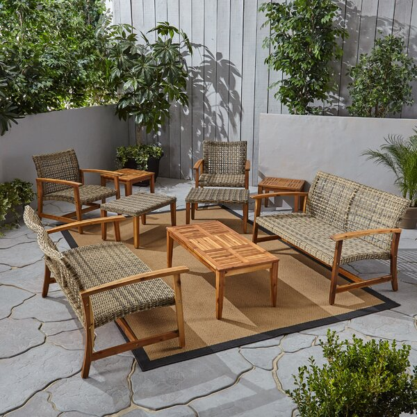 Brickey 9 Piece Rattan Sofa Seating Group by Foundry Select