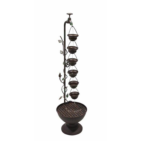 Hanging Cup Iron Floor Fountain by Benzara