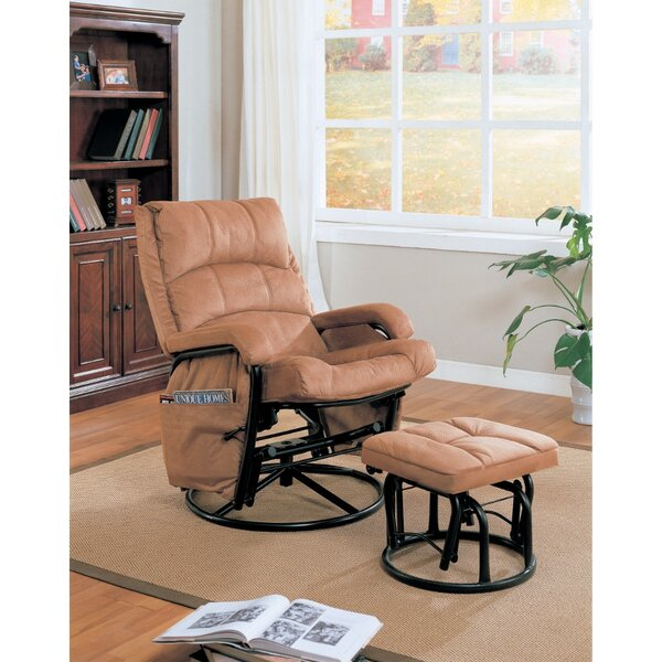 Zismer Downrightly Relaxing Manual Glider Recliner with Ottoman Red Barrel Studio BNZB1765