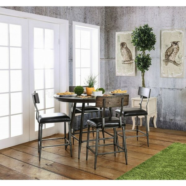 Martinez Industrial Counter Height 5 Piece Pub Table Set by Williston Forge