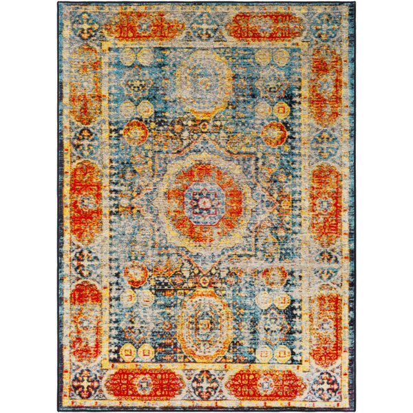 Wyclif Bright Orange/Aqua/Bright Yellow Area Rug by Bungalow Rose