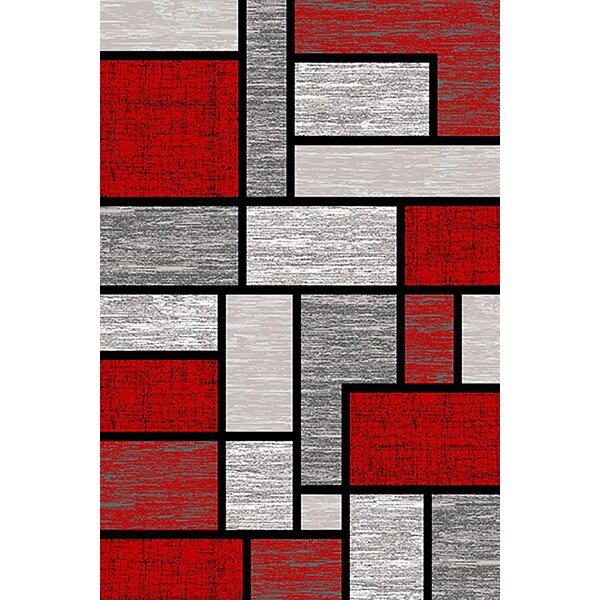 Mccampbell 3D Abstract Gray/Red Area Rug by Ivy Bronx