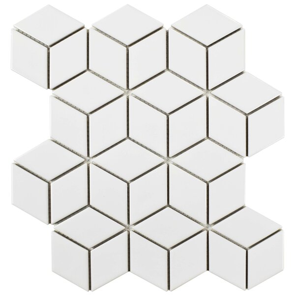 Retro Rhombus 1.88 x 3.18 Porcelain Mosaic Tile in Bright White by EliteTile