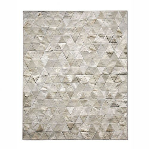 Patchwork Cowhide Kahn Ivory Area Rug by Pure Rugs