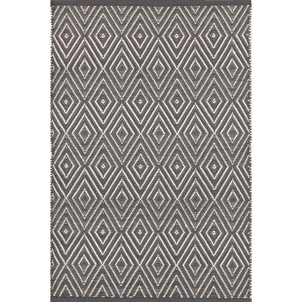 Diamond Hand-Woven Graphite/Ivory Indoor/Outdoor Area Rug by Dash and Albert Rugs