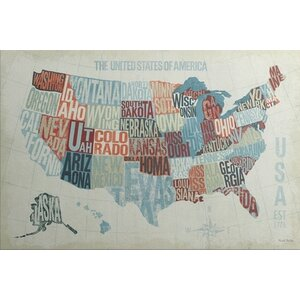 'USA Modern Blue' by Michael Mullan Textual Art on Canvas by Great Big Canvas