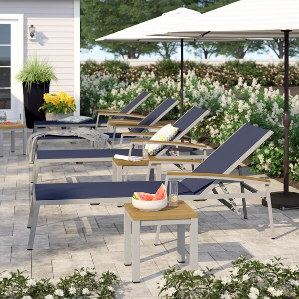 Caspian Sun Chaise Lounger with Table (Set of 4)