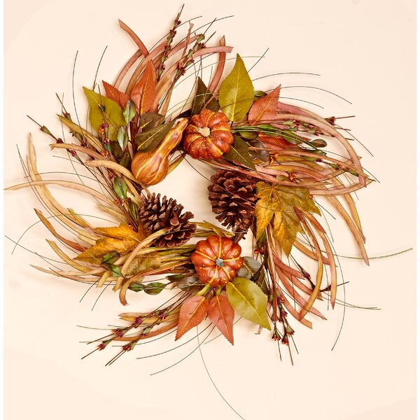 18 Gourd, Leaf and Grass Wreath by August Grove