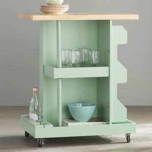Diaz Kitchen Cart with Wood Top by Mistana