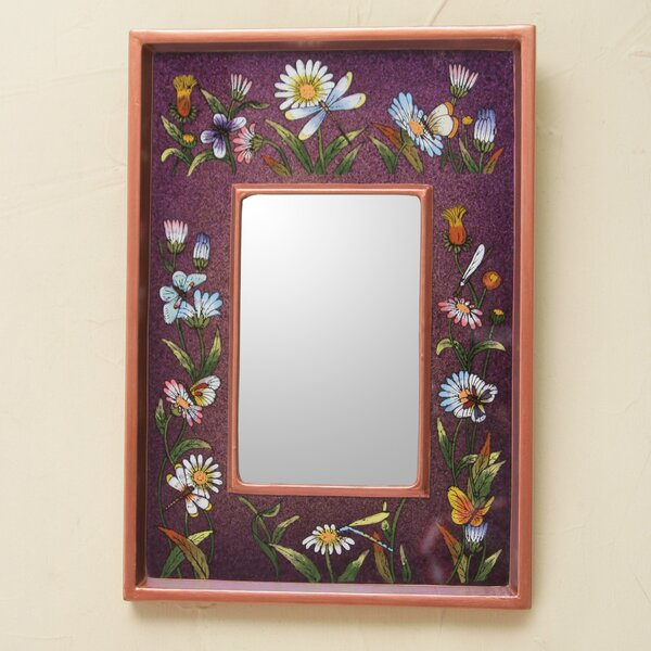 Meadow Vibrant Collectible Reverse Painted Glass Wall Mirror by Novica