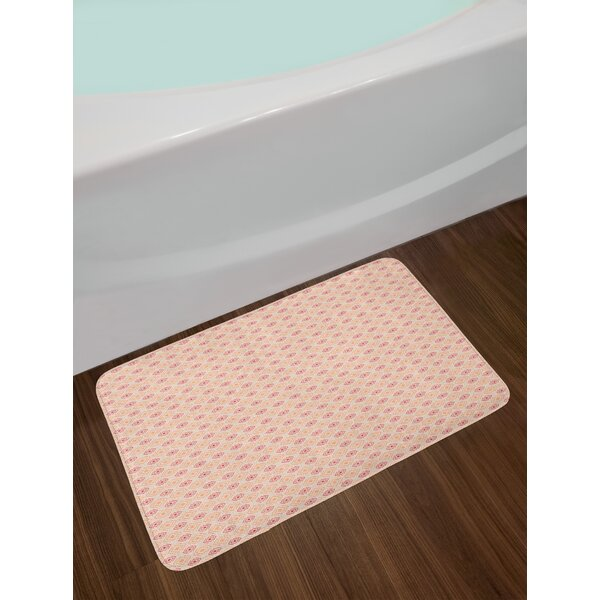 Checked Cubical Coral Geometric Bath Rug by East Urban Home
