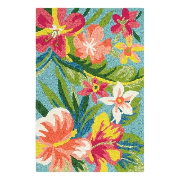 Mai Tai Hand-Hooked Green/Pink Indoor/Outdoor Area Rug by CompanyC