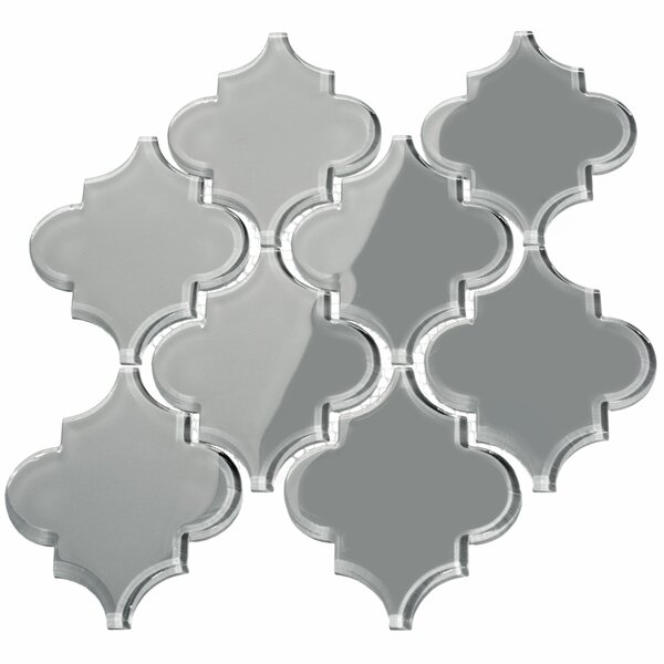 Water Jet 3.9 x 4.7 Glass Mosaic Tile in True Gray by Giorbello