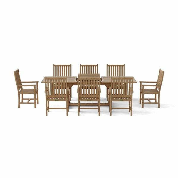 Bahama 9 Piece Teak Dining Set by Beachcrest Home