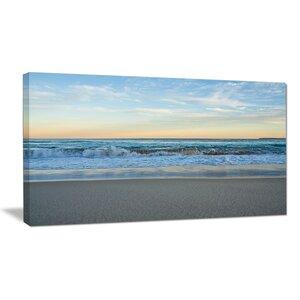 Blue Splashing Scene Beach Large Seashore Photographic Print on Wrapped Canvas by Design Art