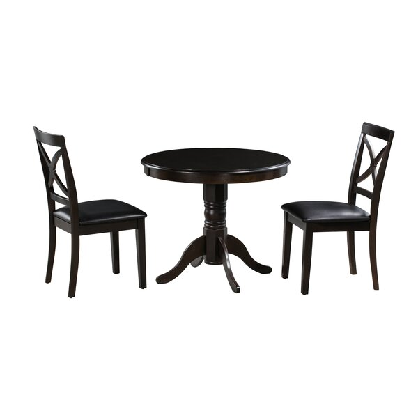 Tiffany 3 Piece Solid Wood Dining Set by Alcott Hill
