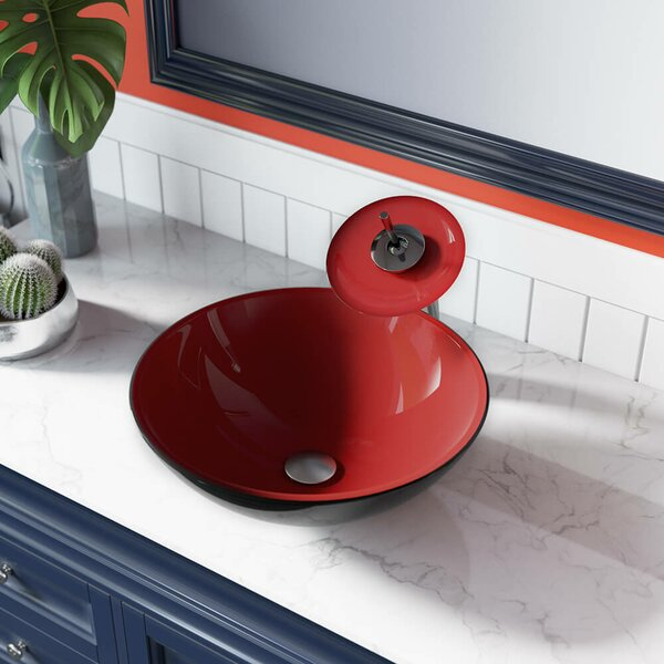 Double Layer Glass Circular Vessel Bathroom Sink by MR Direct