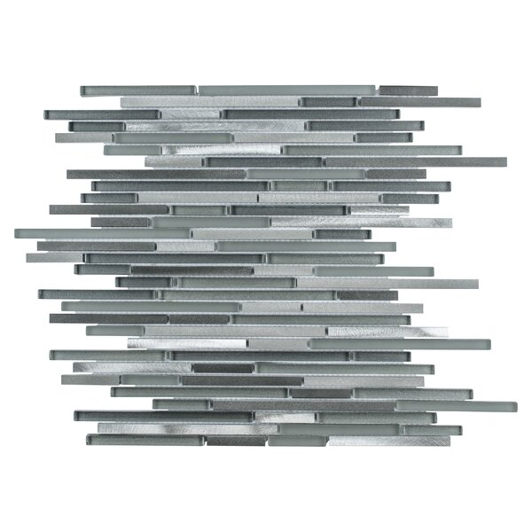 Commix Brushed Random Sized Aluminum/Glass Mosaic Tile in Sonoma by EliteTile