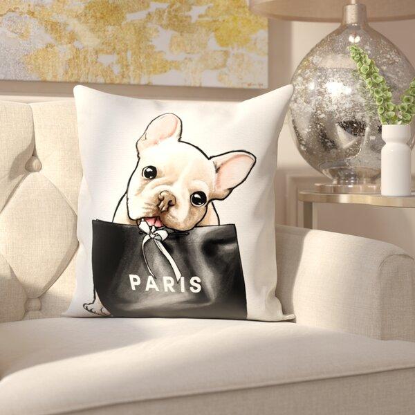 Woodward Frenchie Glam Paris Throw Pillow by Rosdorf Park