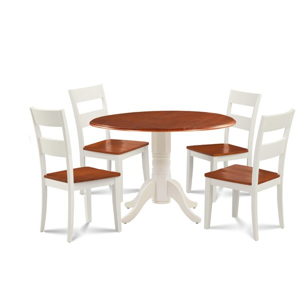 Forthill Wood 5 Piece Solid Wood Dining Set by Alcott Hill