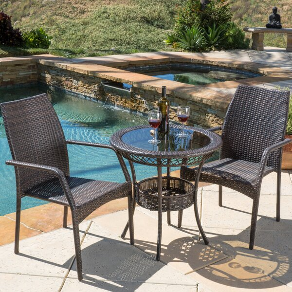 Tullos 3 Piece Bistro Set by Highland Dunes