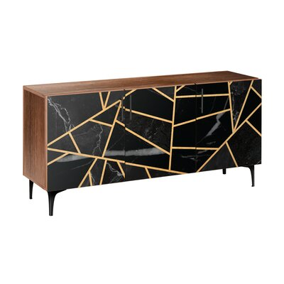 Odell Sideboard Brayden Studio Color (Base/Top): Black/Walnut