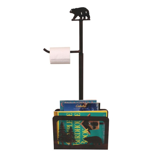 Iron Bear and Pine Tree Freestanding Toilet Paper Holder with Magazine Rack