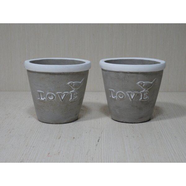 Round Concrete Pot Planter (Set of 2) by Kasamodern