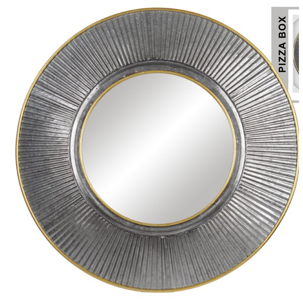 Grandy Metal Round Wall Mounted Mirror by Wrought Studio