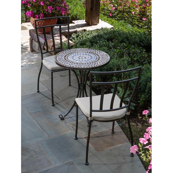 Tremiti 3 Piece Mosaic Bistro Set with Cushions by Alfresco Home
