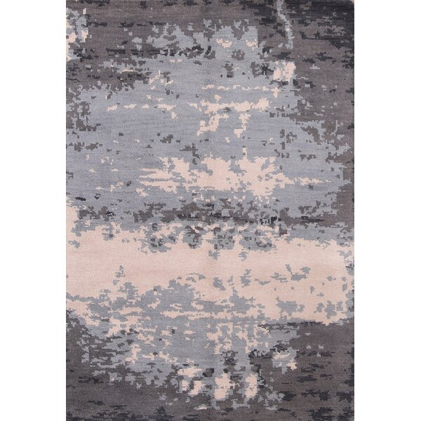 One-of-a-Kind Alaska Moroccan Oriental Hand-Knotted Wool Gray/Black Area Rug by Williston Forge