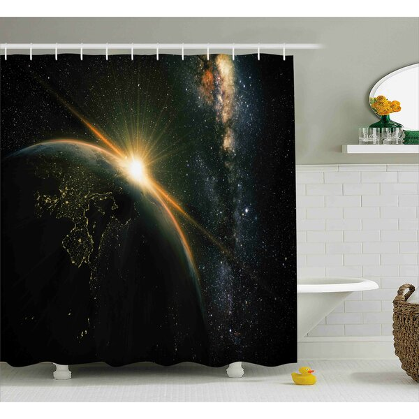 Sun Rising above Earth Shower Curtain by East Urban Home